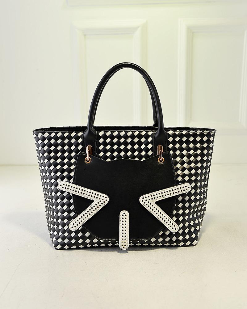 拉链暗袋  外袋种类:立体袋  流行元素:车缝线,拼接,猫 箱包图案:动物