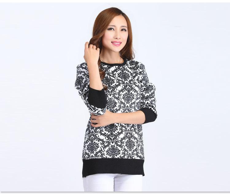 冬季新款 时尚欧式提花保暖毛衣