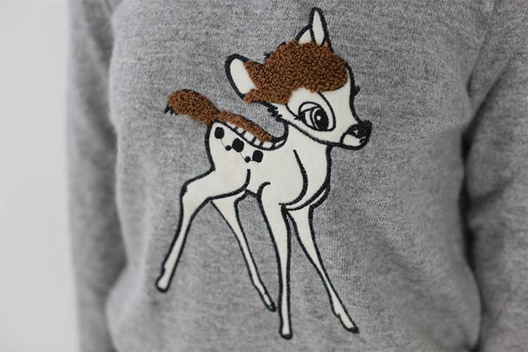 韩国秋冬小鹿动物图案毛衣针织衫