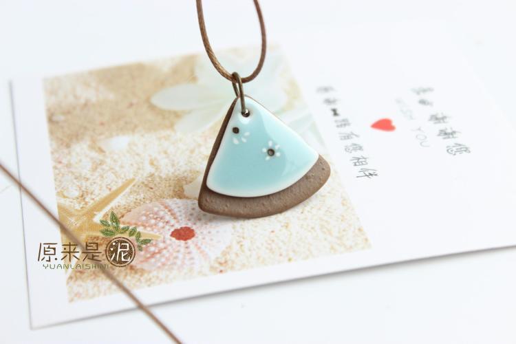扇子手绘碎花陶瓷项链