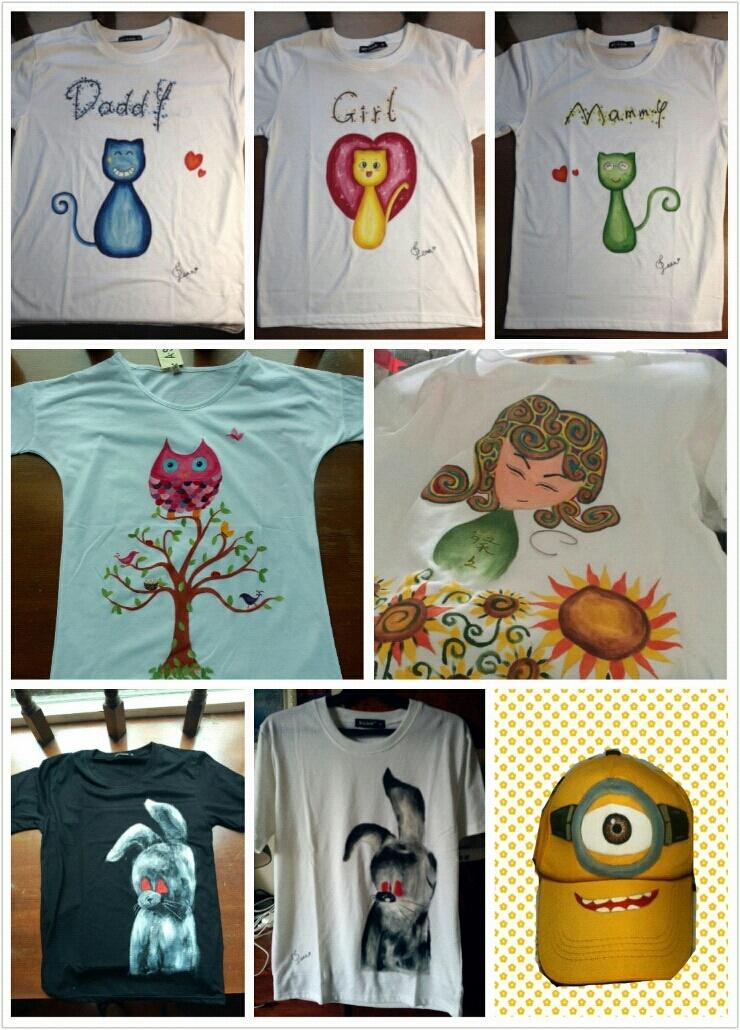 定制手绘t恤╮(╯▽╰)╭亲手画哦~下面是效果图有人有兴趣吗~包括