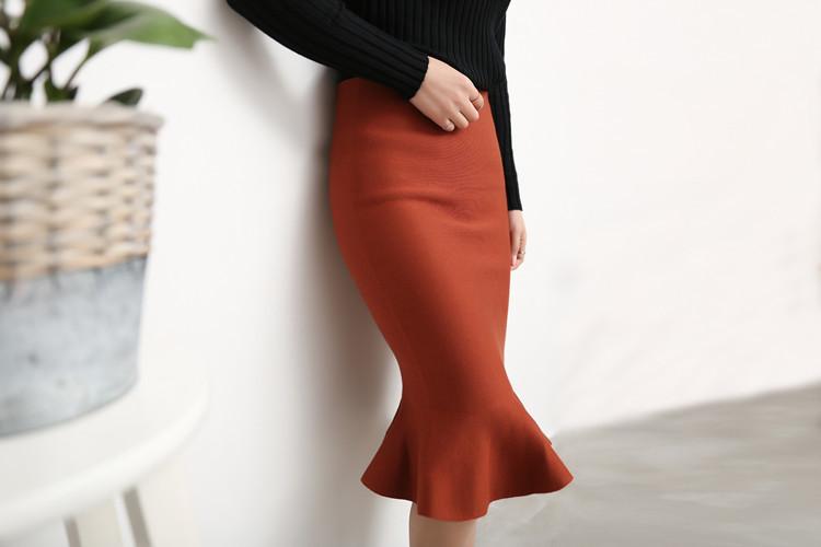 韩版鱼尾包臀针织长裙