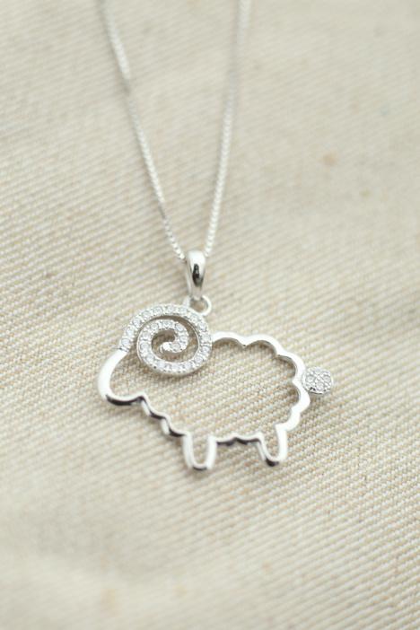 韩国925纯银镶钻小绵羊项链