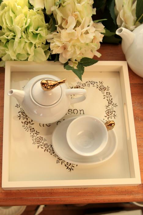 实木玻璃雕花茶盘