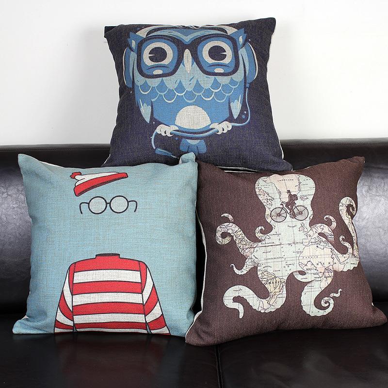 美式创意手绘猫头鹰章鱼眼镜男创意棉麻抱枕