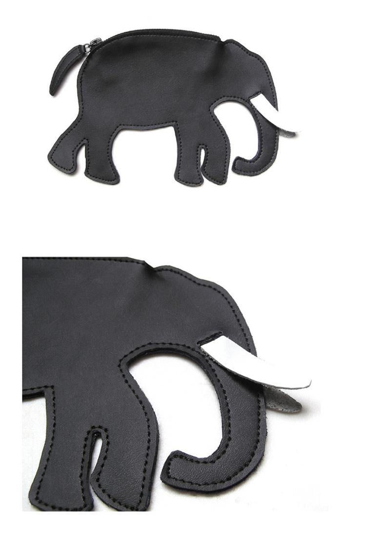 黑色牛皮零钱挂包-大象