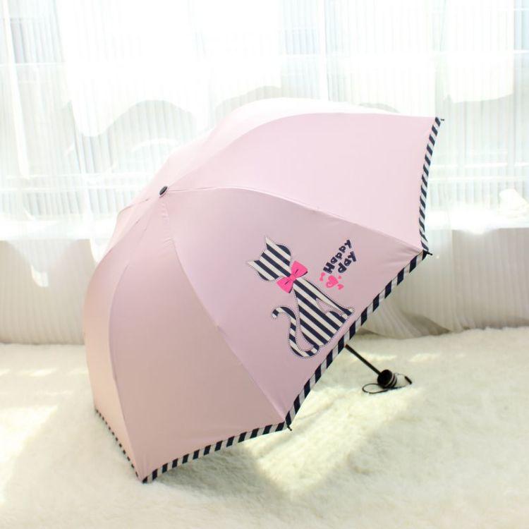 可爱猫咪黑胶晴雨伞