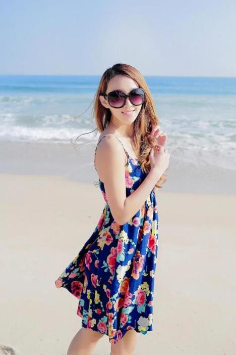 【夏装花朵吊带棉绸沙滩连衣裙】-衣服-连衣裙
