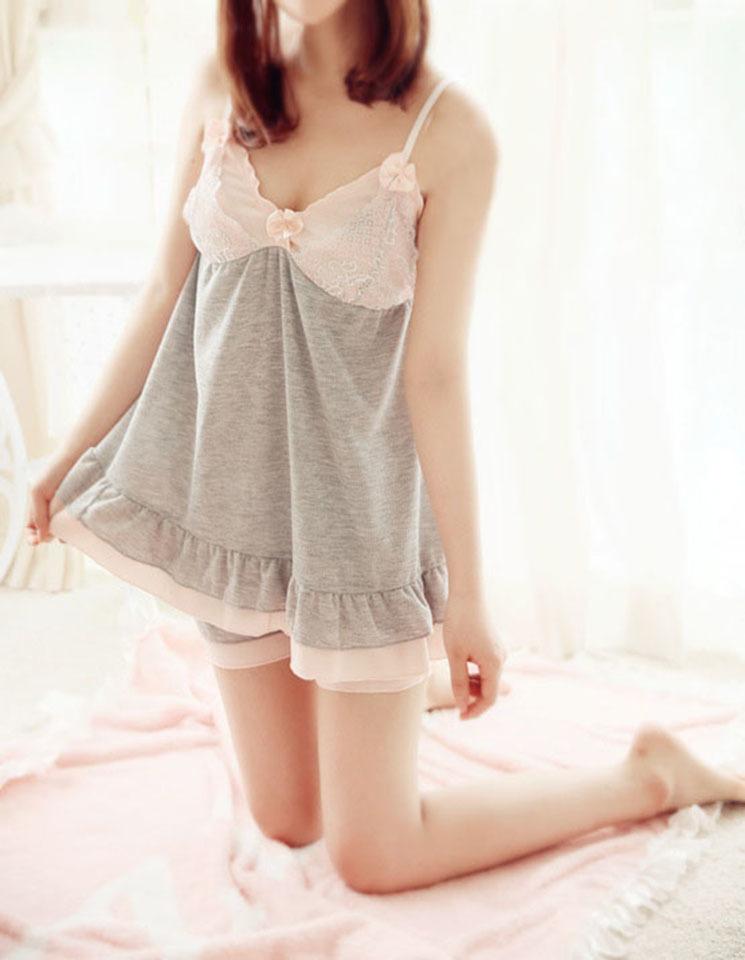 透气棉日系小可爱蕾丝吊带睡衣