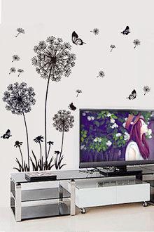 Dán tường trang trí phòng ngủ phòng khách hình hoa bồ công anh đen lãng mạn