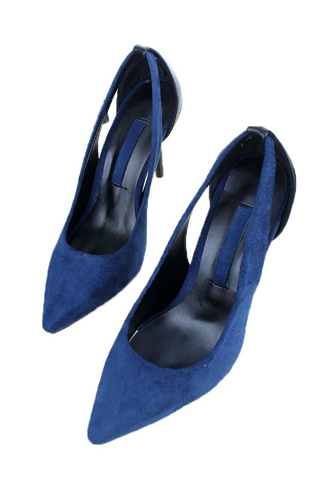 宝蓝色镂空ol高跟鞋