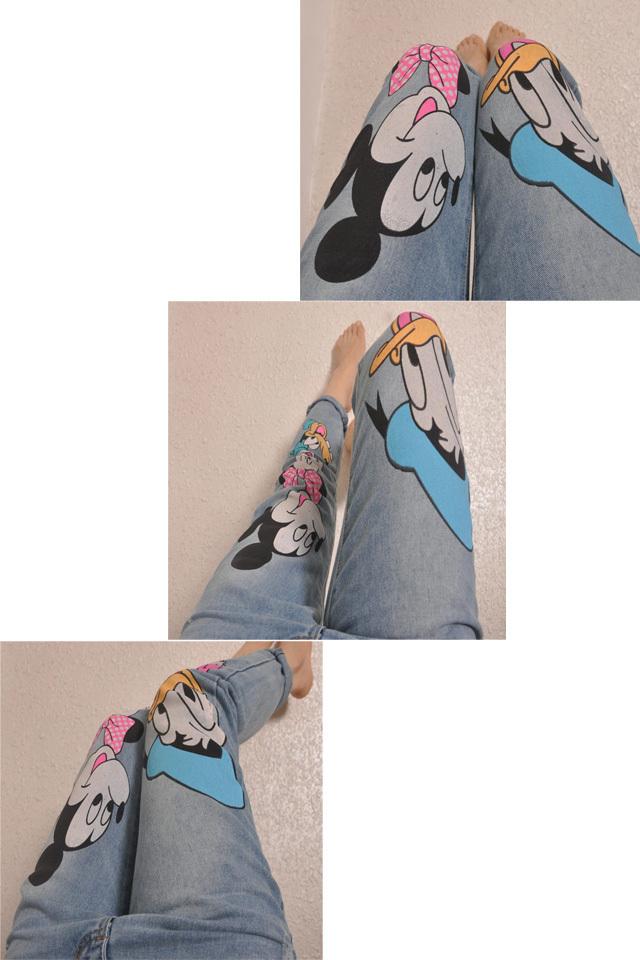【范冰冰同款迪士尼米奇图案牛仔裤】-衣服-牛仔裤
