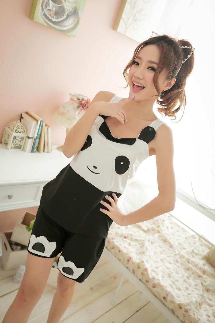 夏日 可爱熊猫纯棉睡衣套装