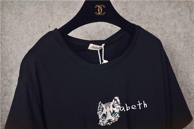 2015刺绣猫咪图案休闲t恤