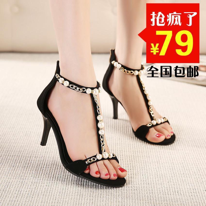日系vivi杂志款女式鞋子新款细跟高跟鞋串珠罗马凉鞋女小码鞋34码