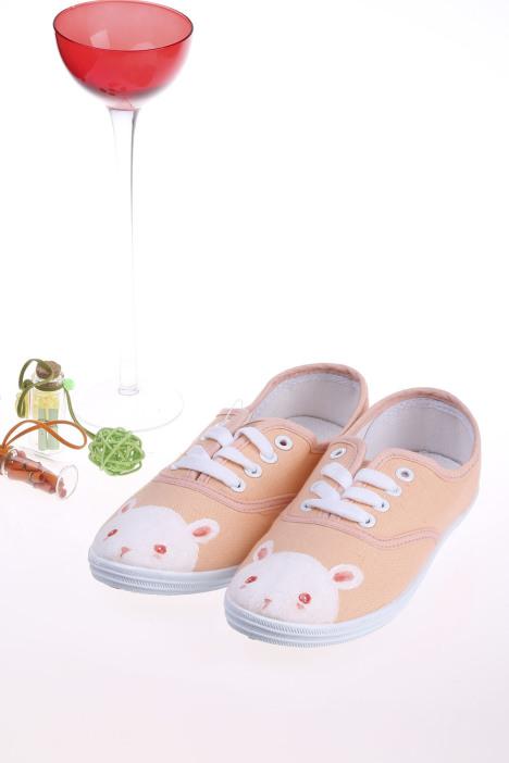 【可爱的手绘兔子 手绘鞋】-鞋子-帆布鞋