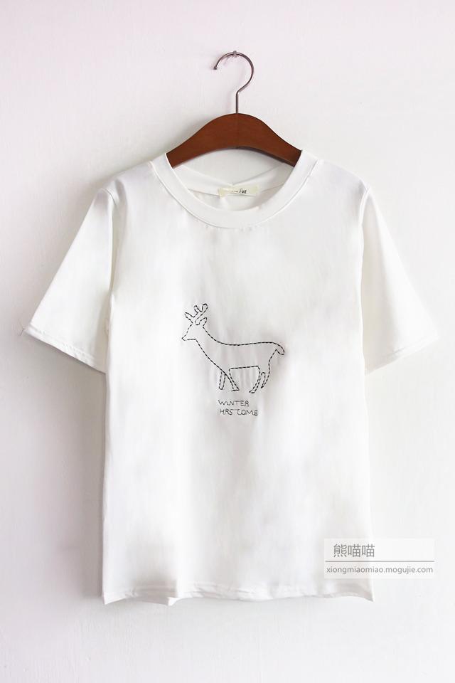 【铅笔画刺绣小动物t恤】-衣服-t恤
