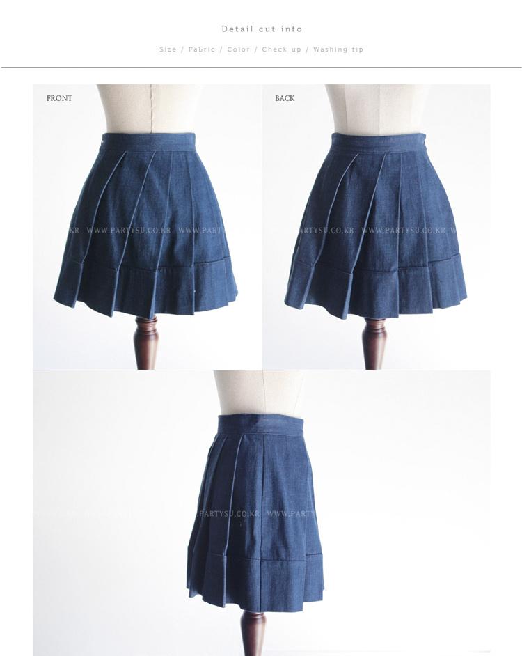 【2015韩国同款斜百褶牛仔裙】-衣服-半身裙