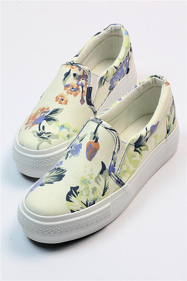 商品描述 一幅传统的花卉虫草中国画裁剪成的鞋履.