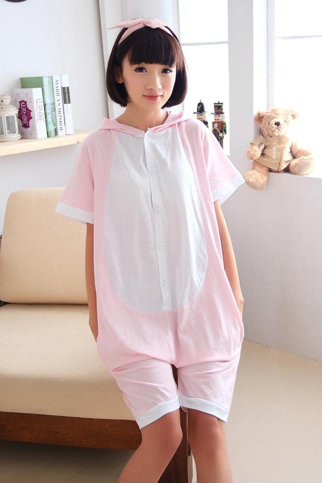 【情侣纯棉短袖粉猪动物连体睡衣】-内衣-女士内衣