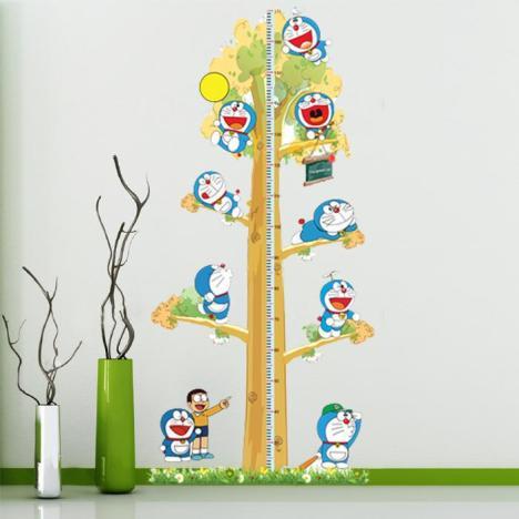 儿童身高贴幼儿园墙面装饰墙贴可移除机器猫墙壁贴画