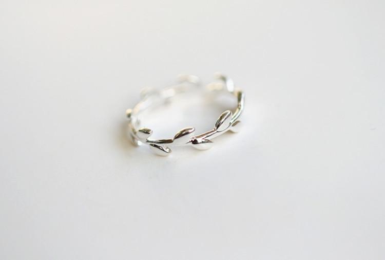 925纯银树叶开口戒指