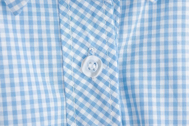 小清新打结格子衬衫