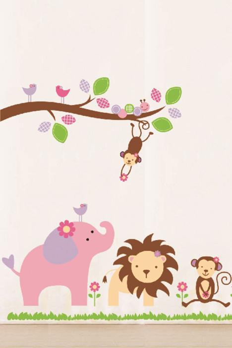 【【宜家】动物朋友卡通装饰墙贴】-家居-贴饰
