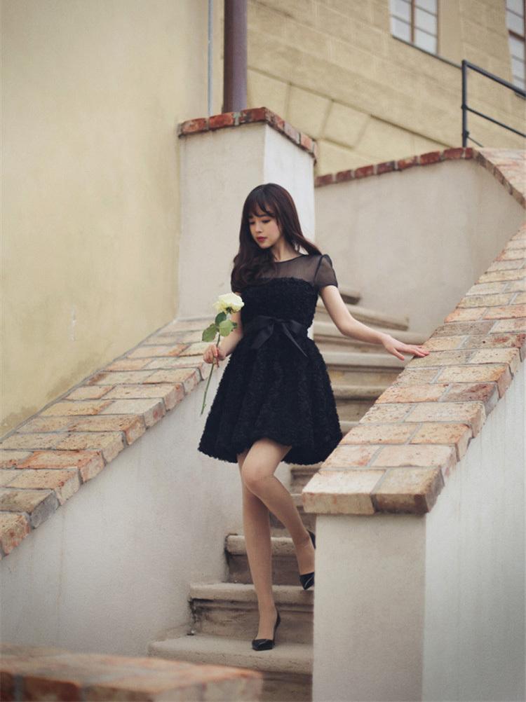 【韩版立体玫瑰花连衣裙】-衣服-连衣裙