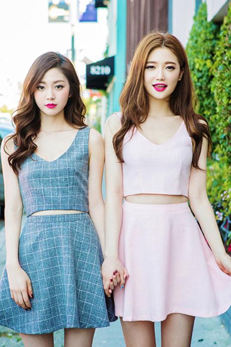 新款,韩版,两件套,上衣,显瘦,小清新,短裤,裙子,休闲,闺蜜装,甜美