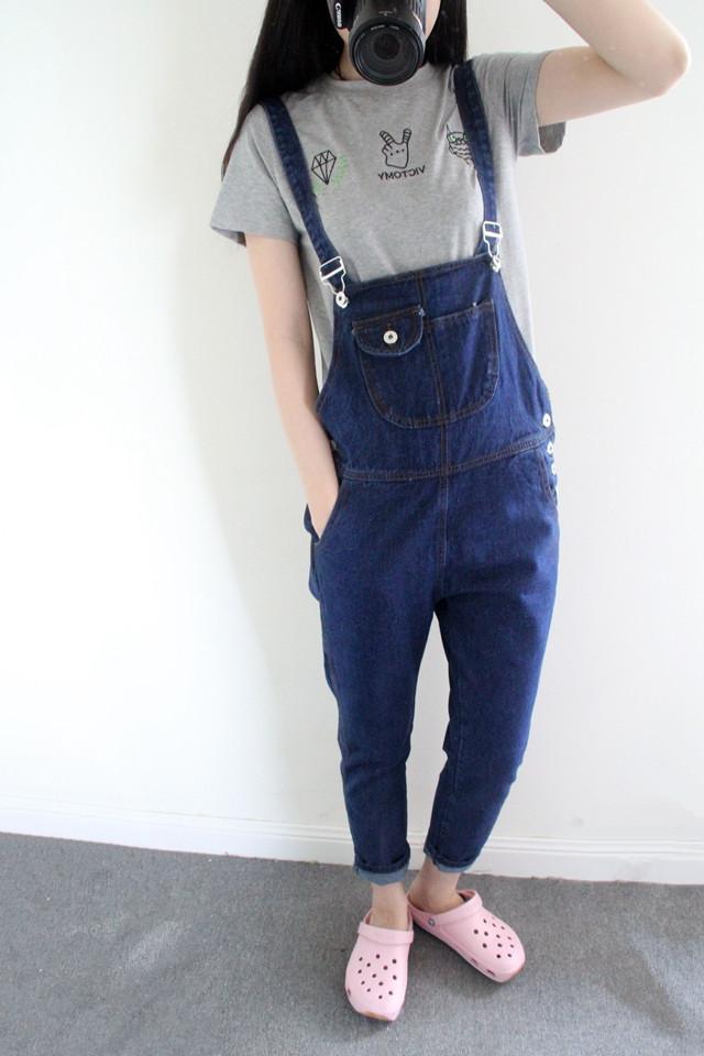 风格:日韩,学院 厚薄:普通 裤长:长裤 图案:纯色 裤型:背带裤 面料