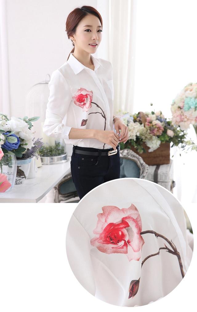 【玫瑰花长袖雪纺衬衫】-衣服-衬衫