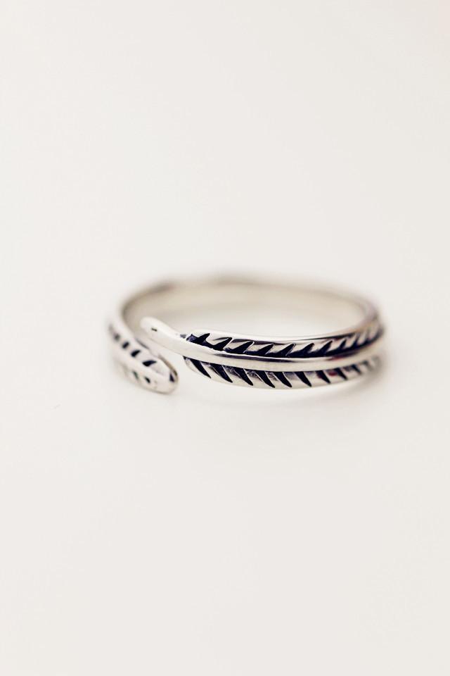 s925纯银树叶开口戒指
