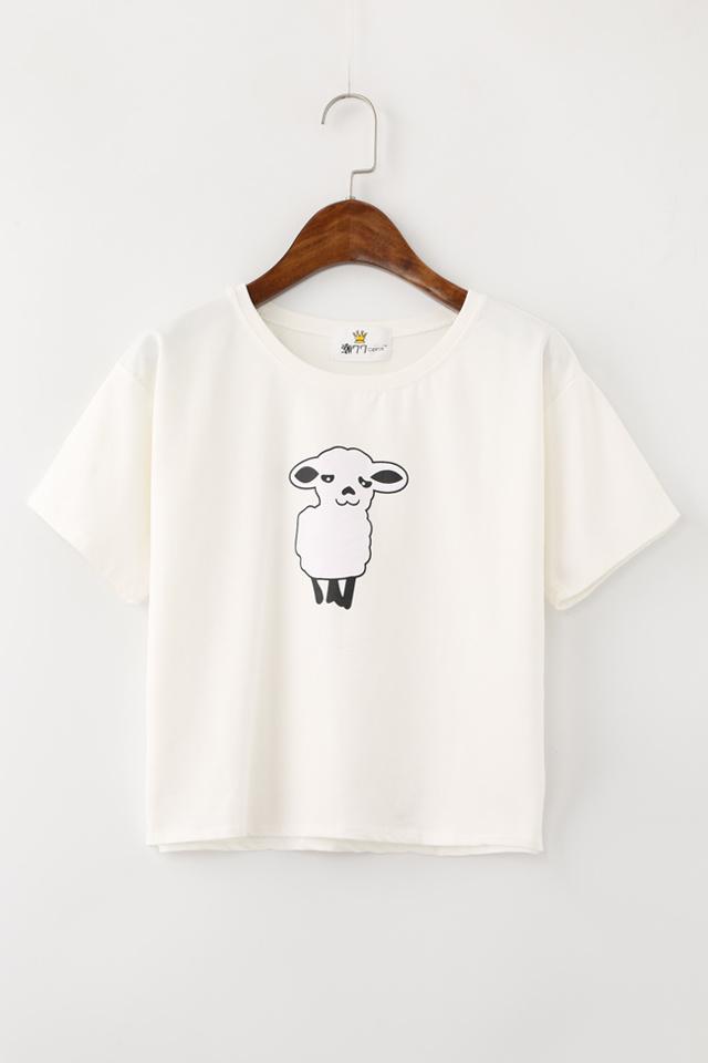 版型:宽松  细节:印花 图案:卡通,小绵羊 风格:日韩,小清新,韩系