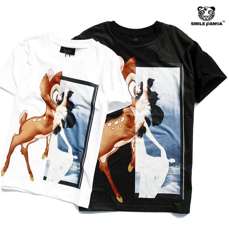 熊猫现货欧美潮gvc纪梵家bambi经典可爱小鹿斑比黑白短袖t恤男女