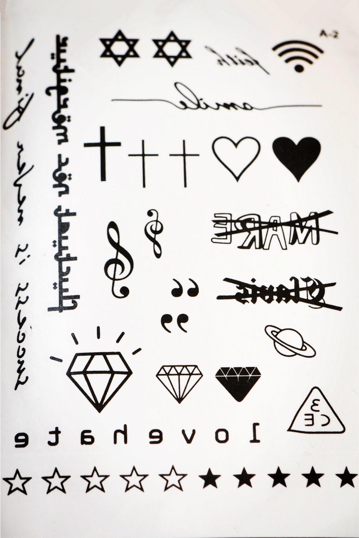 韩国3ce几何字母纹身贴纸