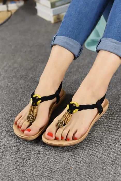 【韩版复古玫瑰花雕刻系绳凉鞋】-鞋子-凉鞋