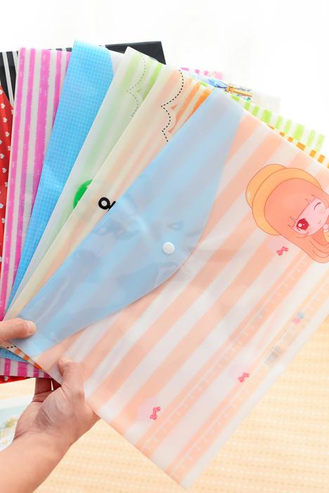 聚可爱清新塑料文件袋(四个装)