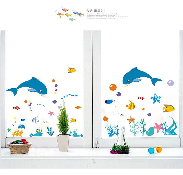【【简一】卡通海底世界海豚墙贴画】-家居-贴饰