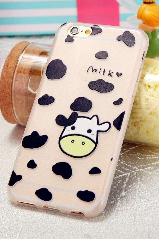 可爱奶牛拉丝硅胶 iphone手机壳