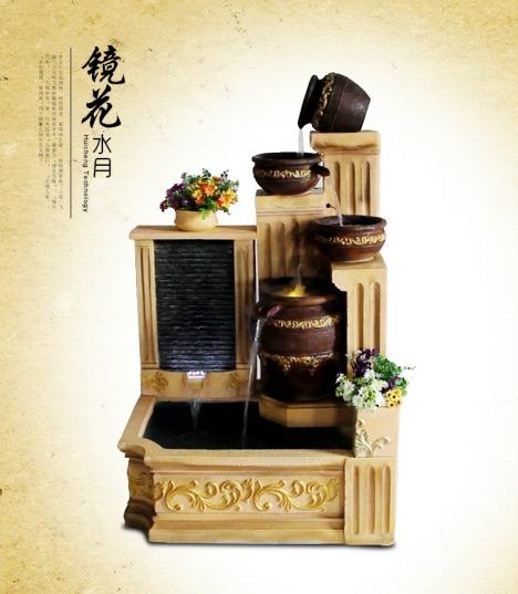 水乡故事风水招财古典景观装饰摆件欧式阳台门厅喷泉