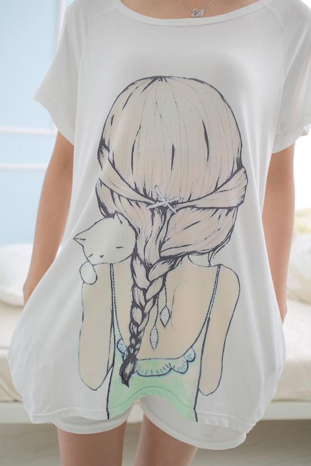 【韩版背影女孩睡衣2件套】-内衣-女士内衣/家居服