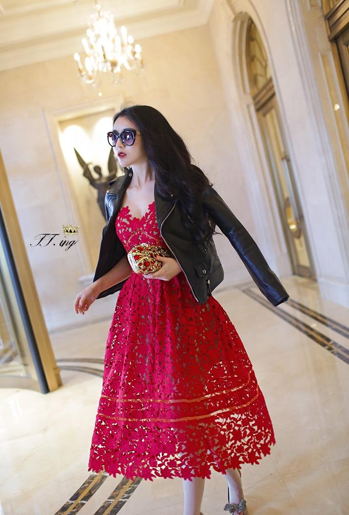 【吊带红色礼服蕾丝连衣裙】-衣服-裙子