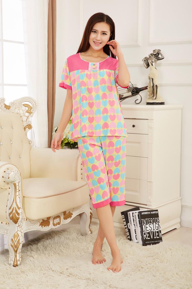 夏季绵绸可爱纯棉韩版格子睡衣