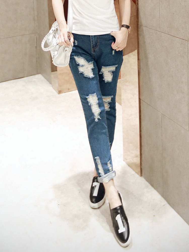 【夏装破洞牛仔裤】-衣服-裤子