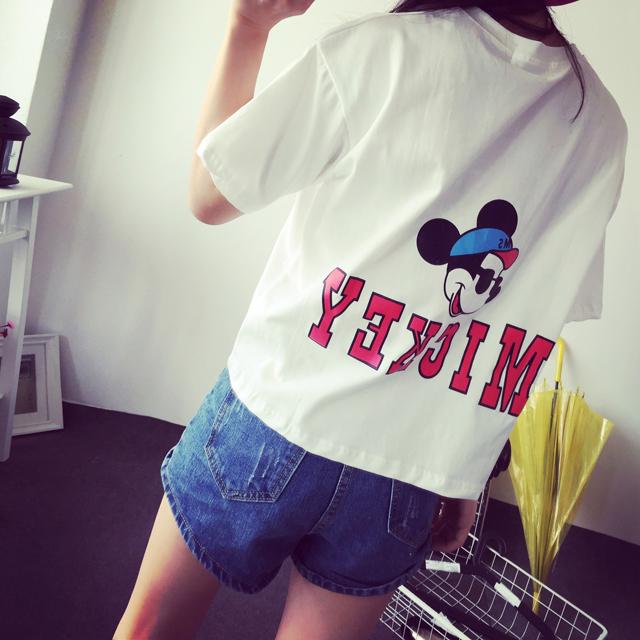 【简笔画米奇字母短袖t恤】-衣服-服饰鞋包