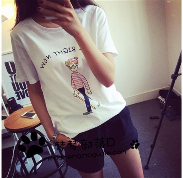 梦梦家 可爱小人卡通短袖t恤