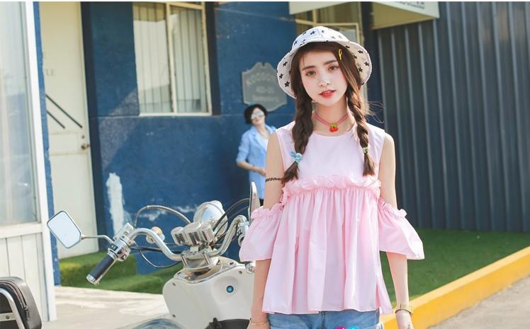 露肩木耳边休闲甜美可爱娃娃衬衫