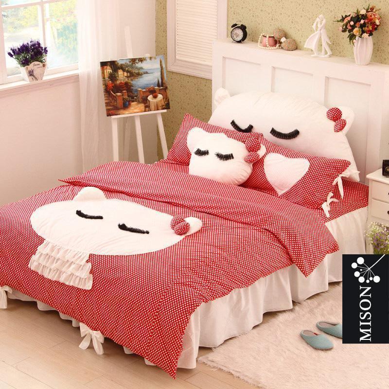 包邮可爱公主儿童卡通猫咪波点立体花朵床品1米2 1米5 1米8四件套