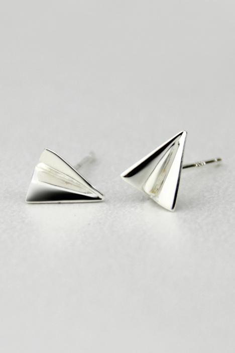 【[飞行器]925银纸飞机耳钉】-配饰-配饰